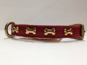 SD Red Collar with Gold Bones