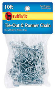 Ruffin It Tie-Out & Runner Chain 10 ft (heavy weight and medium dogs) SALE