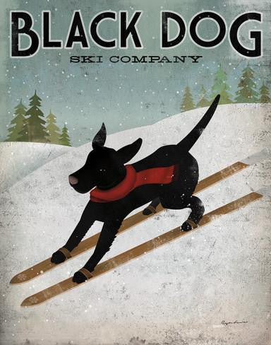 Framed Wall Art - Black Dog Ski