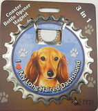 Bottle Ninja 3 in 1 Coaster/Bottle Opener/Magnet - Dachshund, long haired