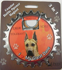 Bottle Ninja - 3 in 1 Coaster/Bottle Opener/ Magnet - Great Dane