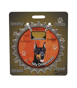 Bottle Ninja - 3 in 1 Coaster/Bottle Opener/ Magnet - Doberman