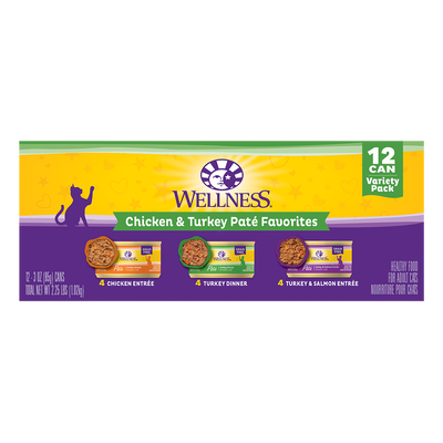 Wellness 12 can Variety Pack Chicken & Turkey Pate Favorites