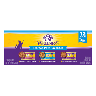 Wellness® Complete Health™ wet cat recipes are an excellent source of high quality protein and essential fatty acids, made with natural, wholesome ingredients free from grains, carrageenan, artificial colors, flavors or preservatives. Treat your kitty to a variety of favorite recipes, catering to their form and flavor preferences! Each recipe guarantees Catisfaction, so try the Wellness Complete Health variety packs worry-free.  Variety Pack Includes: Complete Health Chicken & Herring Pate, Complete Health