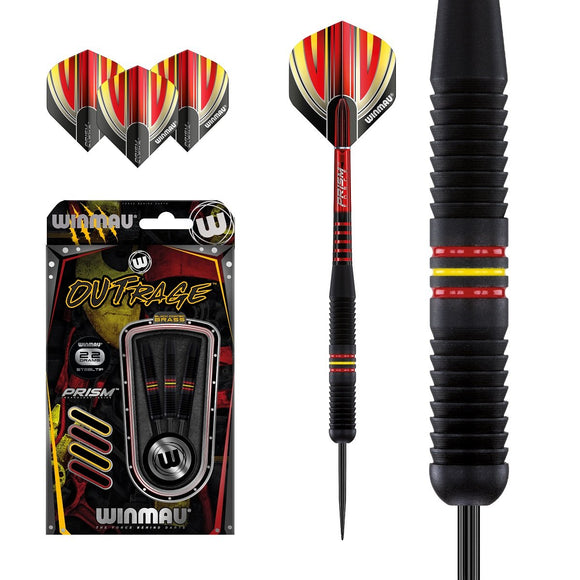 Winmau Outrage Black Brass Steel Tip Darts - Type 1