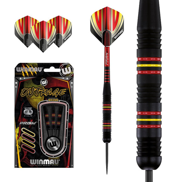 Winmau Outrage Black Brass Steel Tip Darts - Type 2