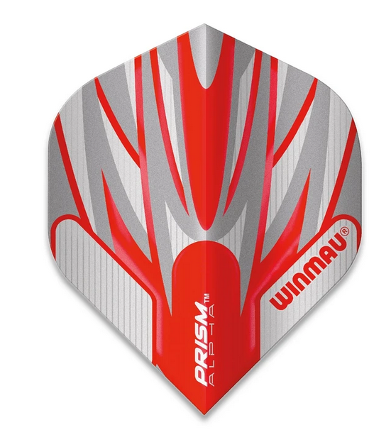 Winmau Prism Alpha Standard Flights - Grey & Red
