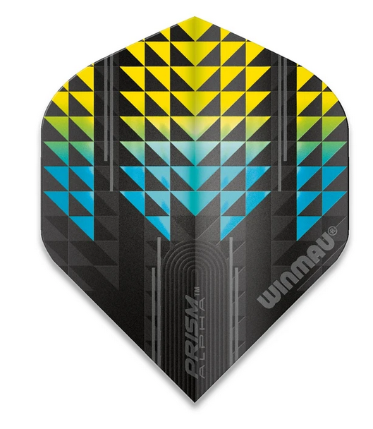 Winmau Prism Alpha Standard Flights - Black, Yellow & Blue