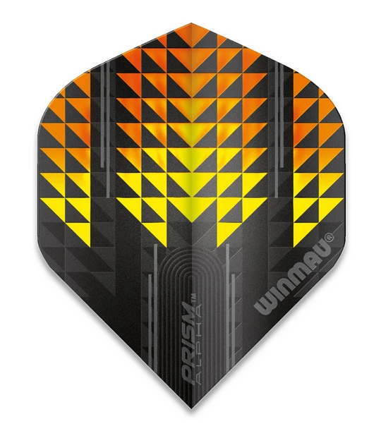 Winmau Prism Alpha Standard Flights - Black, Yellow & Orange