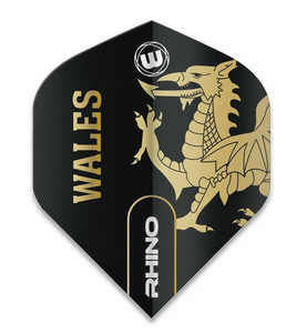 Winmau Rhino Standard Flights - Black & Gold - Wales