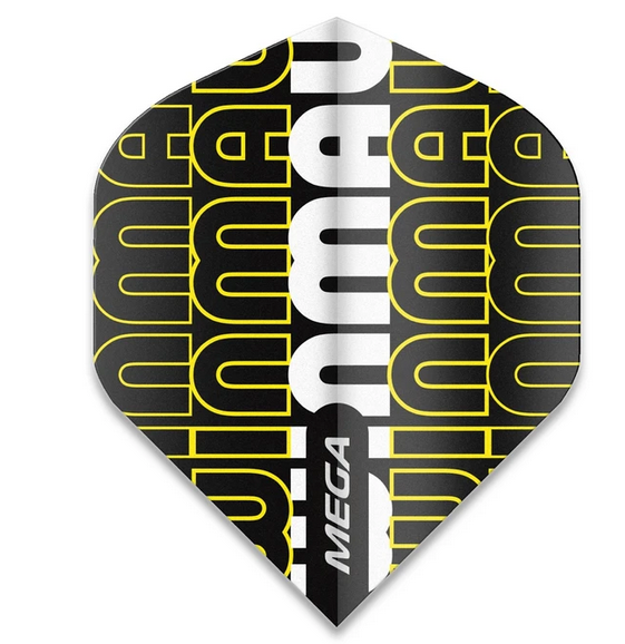 Winmau Mega Standard Flights - Winmau Logo Black & Yellow