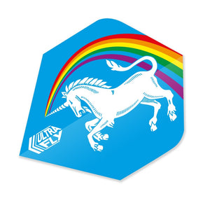 Unicorn Ultrafly.100 Dart Flights - Rainbow Blue Xtra Pear Shape