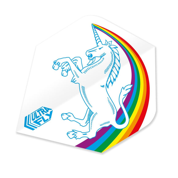 Unicorn Ultrafly.100 Dart Flights - Rainbow White Plus Shape