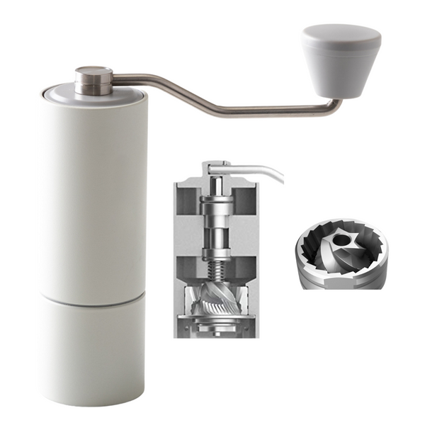JBM Chestnut C2 Manual Coffee Grinder - White Smooth Metal