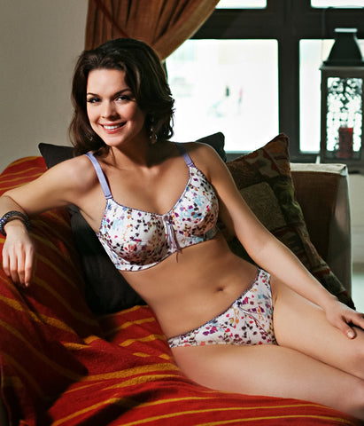 Mastectomy bra in white Billie print by Jamu