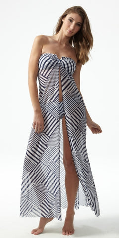 beach dress Moontide geo navy white stipes