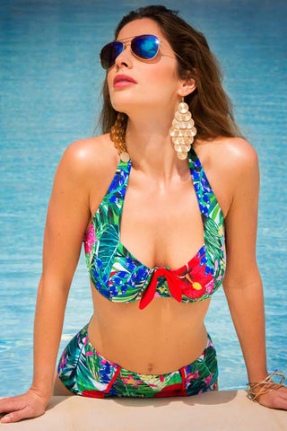 tropical print high waisted bikini