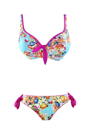 New underwired bikini in vintage print with pink highlights