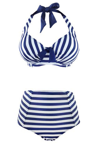 Striped high waisted bikini