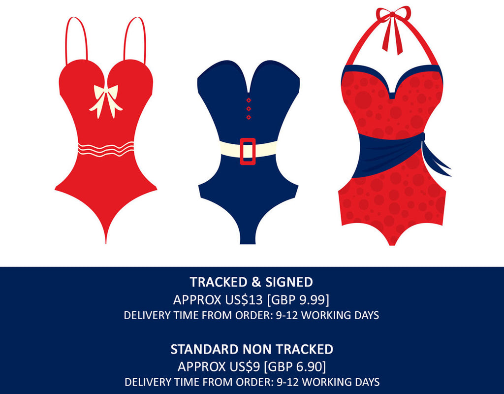 Airy Mary swimwear ships to the USA