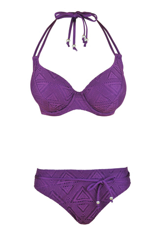 purple underwired bikini crochet