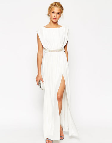 Grecian maxi beach wedding dress