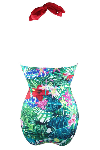 Rear view of tropical print bathing suit