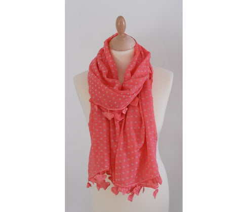 Coral Pink Lightweight Fashion Scarf Women for Spring Summer Heart Motif