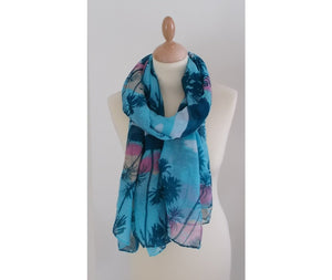 Palm Print Fashion Scarf Women for Spring and Summer Blue