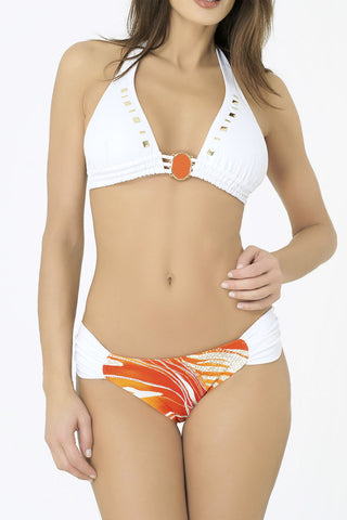 white bikini UK triangle halterneck with orange detail