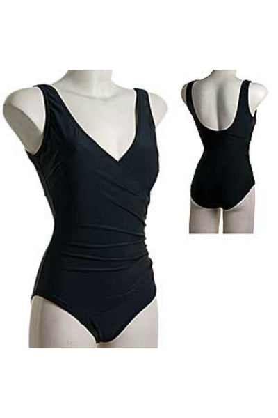 Black bathing suit in DD and E cup sizes. Flattering crossover shape with ruching.