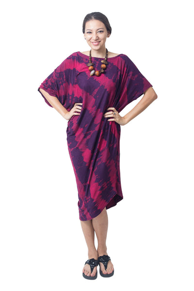 Asymmetrical Tie Dye Dress Purple