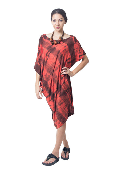 Asymmetrical Tie Dye Dress Red