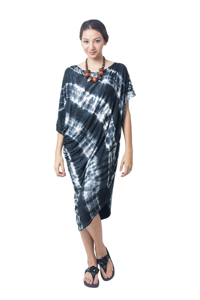 Asymmetrical Tie Dye Dress Black