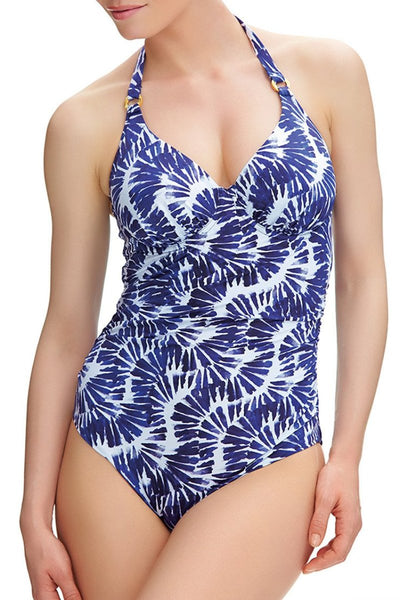 Fantasie Lanai Swimsuit blue white convertible straps halter