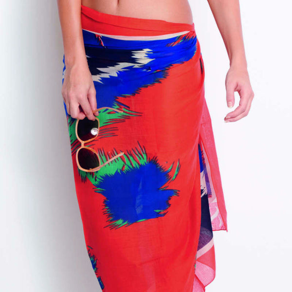 Cotton sarong multi colour orange and blue