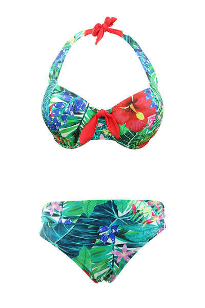 Underwired tropical print bikini