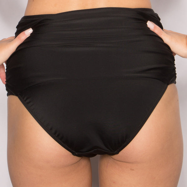 Black high waist bikini bottoms control