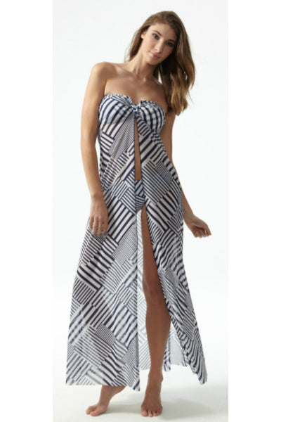 Moontide Geo maxi beach dress navy and white stripes