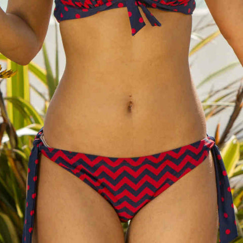 key west bikini brief tie side navy red Pour Moi
