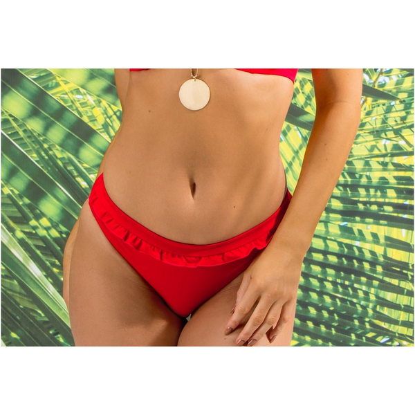 Pour Moi red bikini bottom Getaway with frill