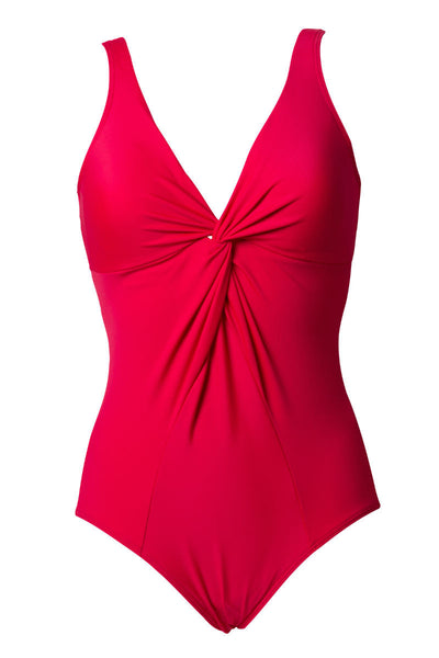 red control swimsuit plain twist v neckline