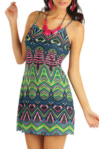Beach dress ethnic tribal print