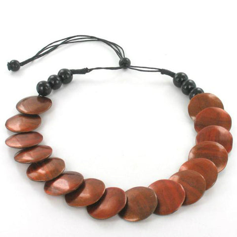 Wooden Disc Necklace Warm Brown