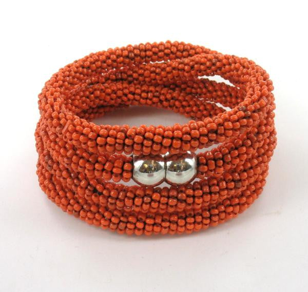 orange beaded wraparound bracelet