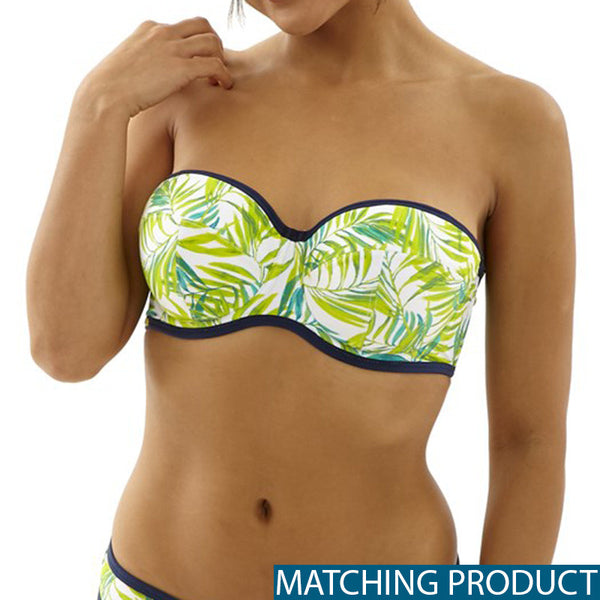Avril Bikini Bottom Green Palm Print