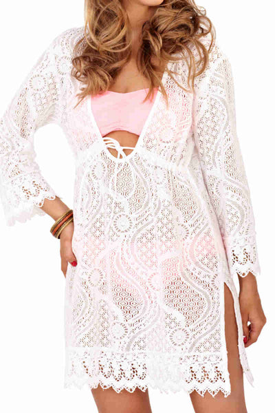 Cotton Crochet Cover Up White