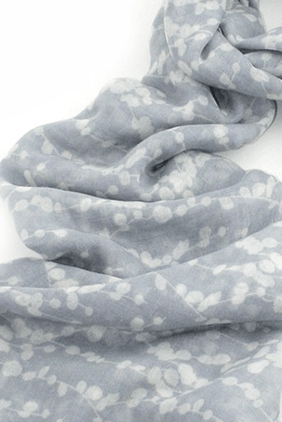 Grey Lightweight Patterned Fashion Scarf Women for Spring and Summer