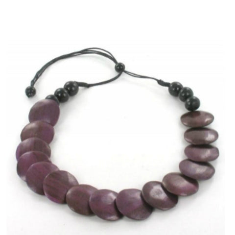 Wooden Disc Necklace Purple