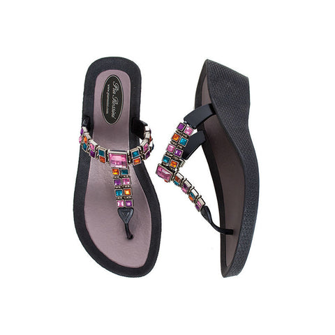 wedge sandal black with coloured gemstones